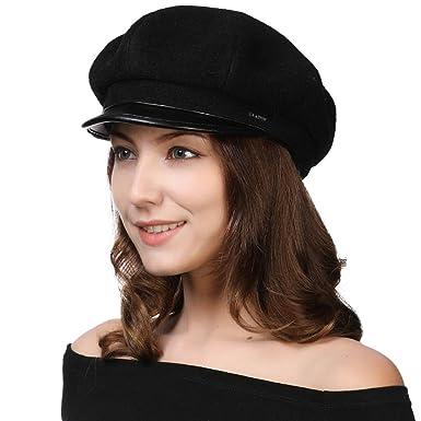 f2d8ecfc94b3a4 Womens Greek Fisherman Wool Blend Fiddler Satin Lined Small Head Hat Winter  Fall Black