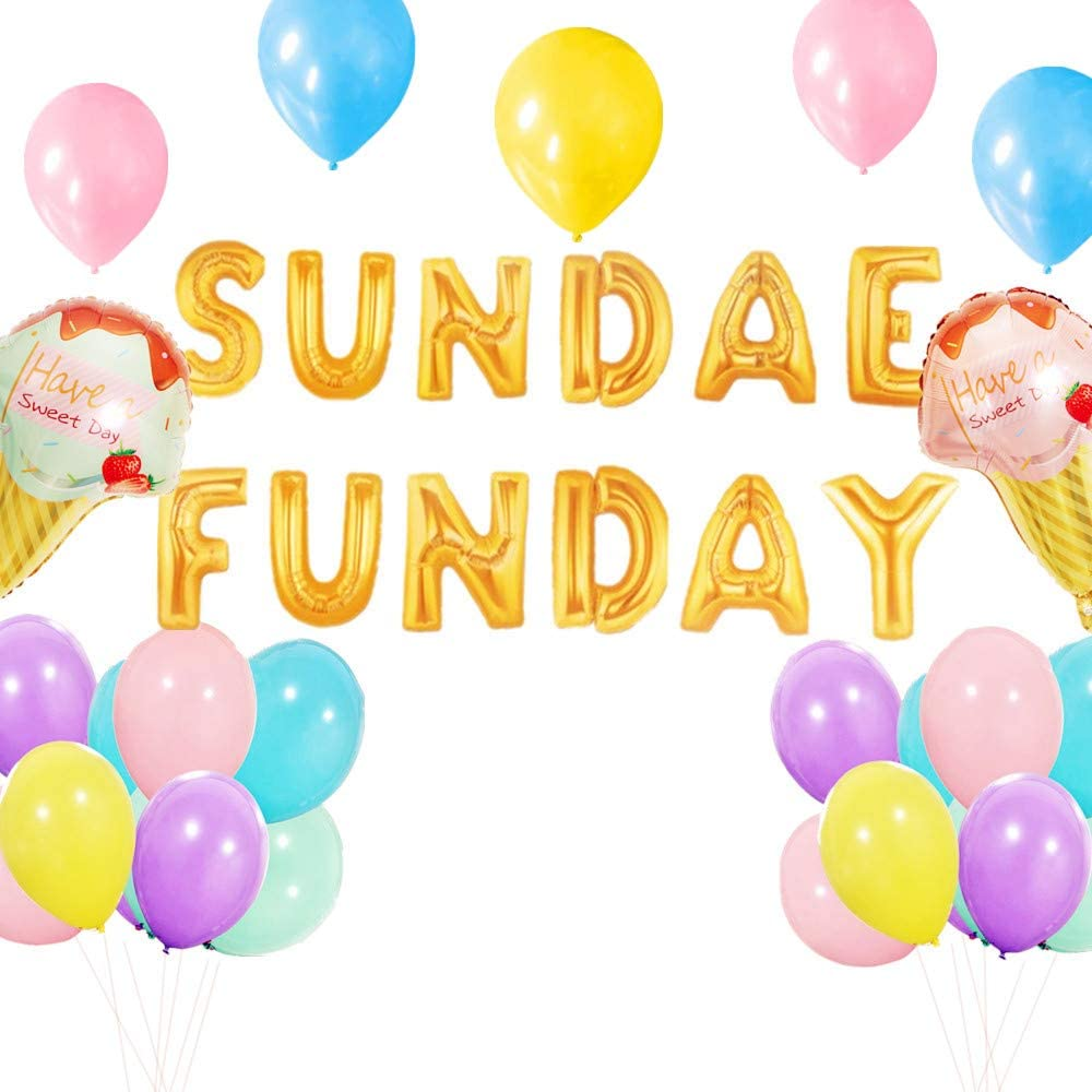 LaVenty Set of 23 Sundae Funday Balloons Banner Ice Cream Party Banner Summer Theme Party Decoration Birthday Baby Shower Decor