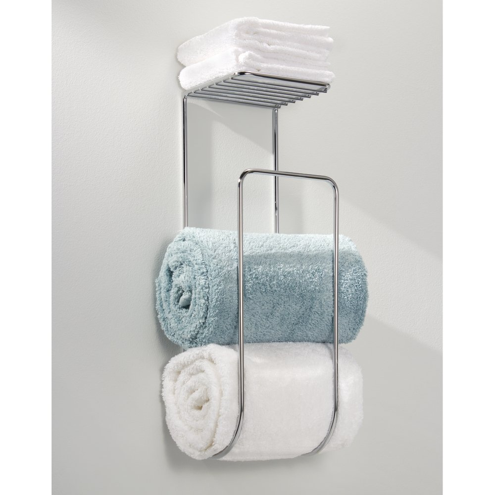 Amazon.com: MDesign Towel Holder With Shelf For Bathroom   Wall Mount,  Chrome: Home U0026 Kitchen