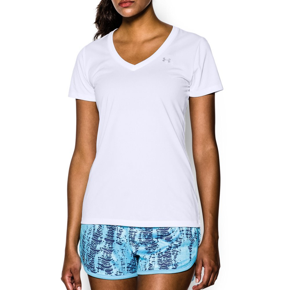 Under Armour Women's Tech V-Neck, White /Metallic Silver, X-Small by Under Armour (Image #1)
