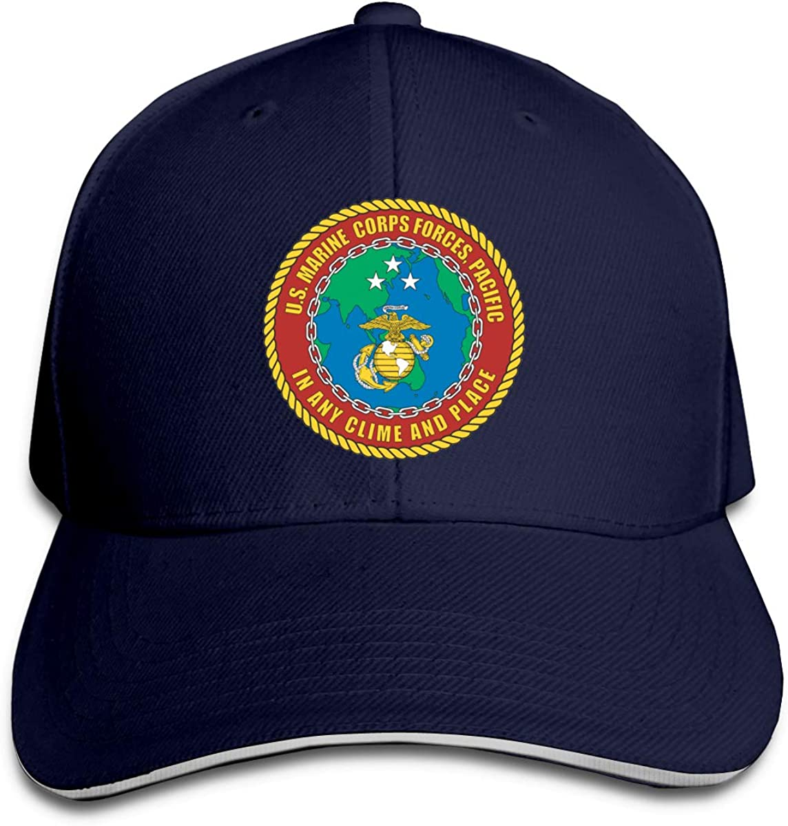 US Marine Corps Forces Unisex Adult Baseball Caps Adjustable Sandwich Caps Jeans Caps Adjustable Denim Trucker Cap