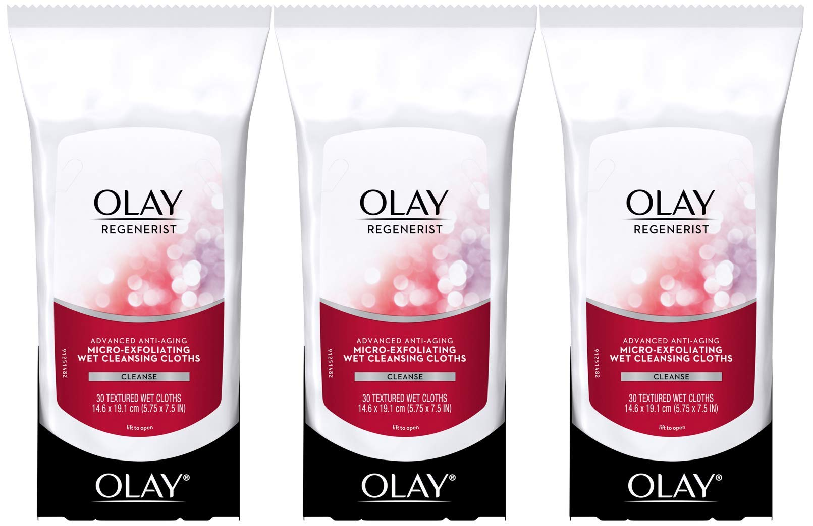Makeup Remover Facial Wipes by Olay Regenerist with Vitamin E & C, Micro-Exfoliating Wet Cleansing Cloths, 30 Count (Pack of 3) by Olay