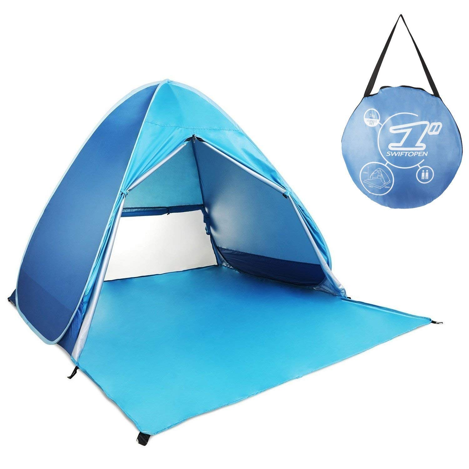 HIEMAO Pop Up Tent, Beach Tent Sun Shelter Instant Sun Shade Portable UV Tent Baby Sun Cabana with Zipper Door for Garden/Beach Times (for 2-3 Person) - Azure by HIEMAO