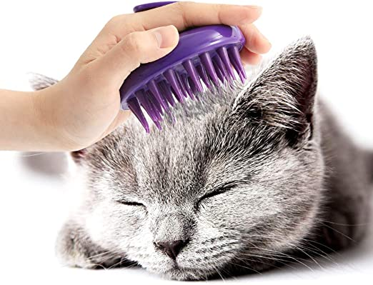 CeleMoon - Cepillo para Gatos, púas de Silicona Suave, Lavable, para masajear y Limpiar a tu Gato, Seguro y sin arañazos, Color Morado: Amazon.es: Productos para mascotas