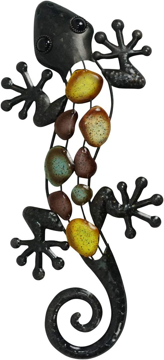 LIFFY Metal Lizard Garden Wall Art Outdoor Fence Hanging Statues Sculptures and Home Decoration