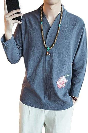 Blusa De Los Hombres Camisa Larga Manga Estilo Moda Chino Bordado De Algodón Cuello En V Suelto Camiseta Manga Larga Tops Color Sólido: Amazon.es: Ropa y accesorios