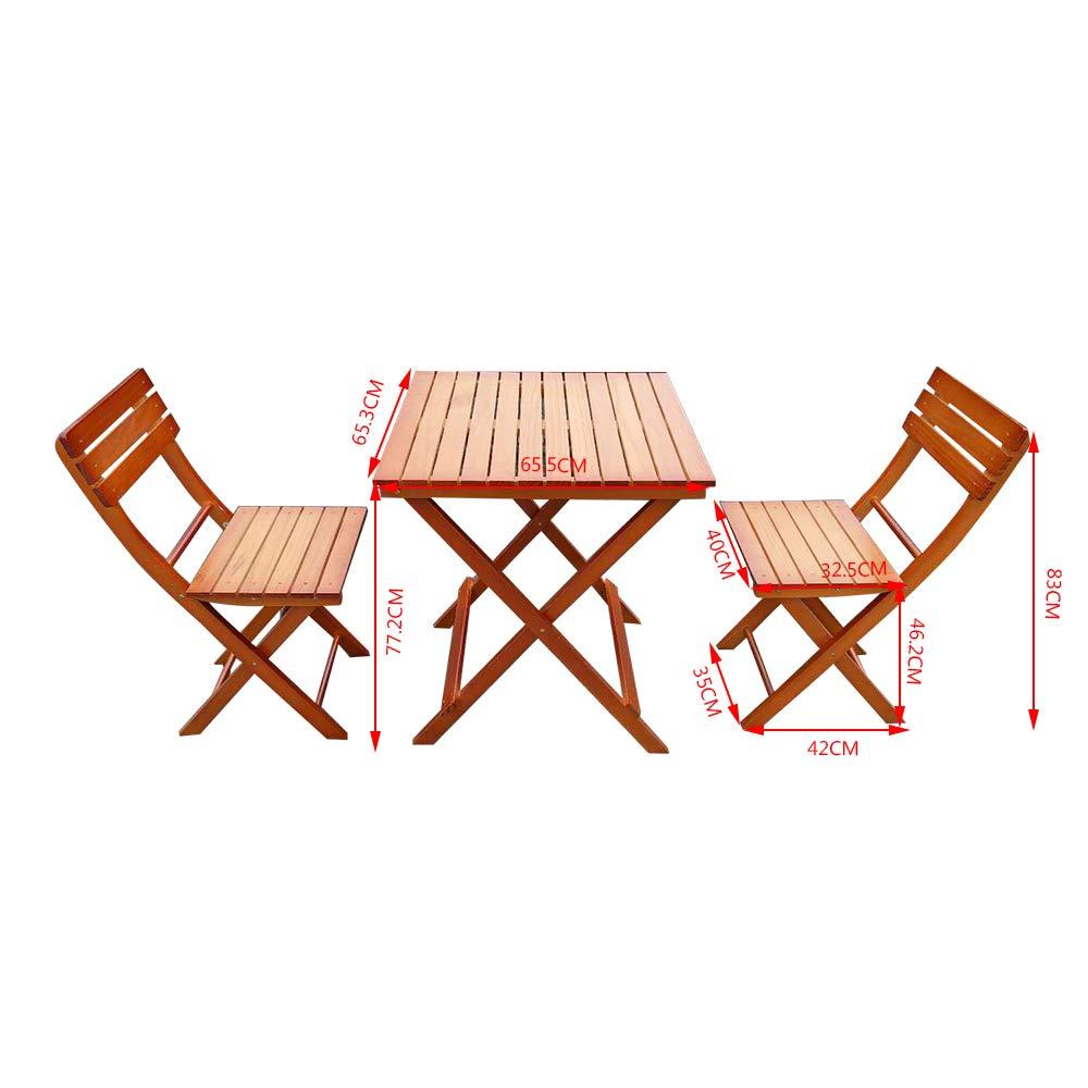 PanaCasa Conjunto de Mesa y 2 Sillas Plegable Madera Jard/ín Patio Exterior Balc/ón al Aire Libre Terraza Restaurante Cafeter/ía Camping Bar Bistro