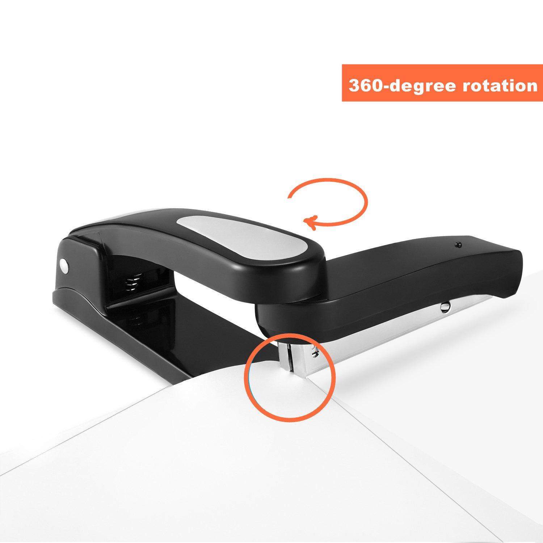 Spin Swivel Stapler with 2000 Staples - 360 Degree Rotating Stapler Head (20 Sheets Capacity) (Black)