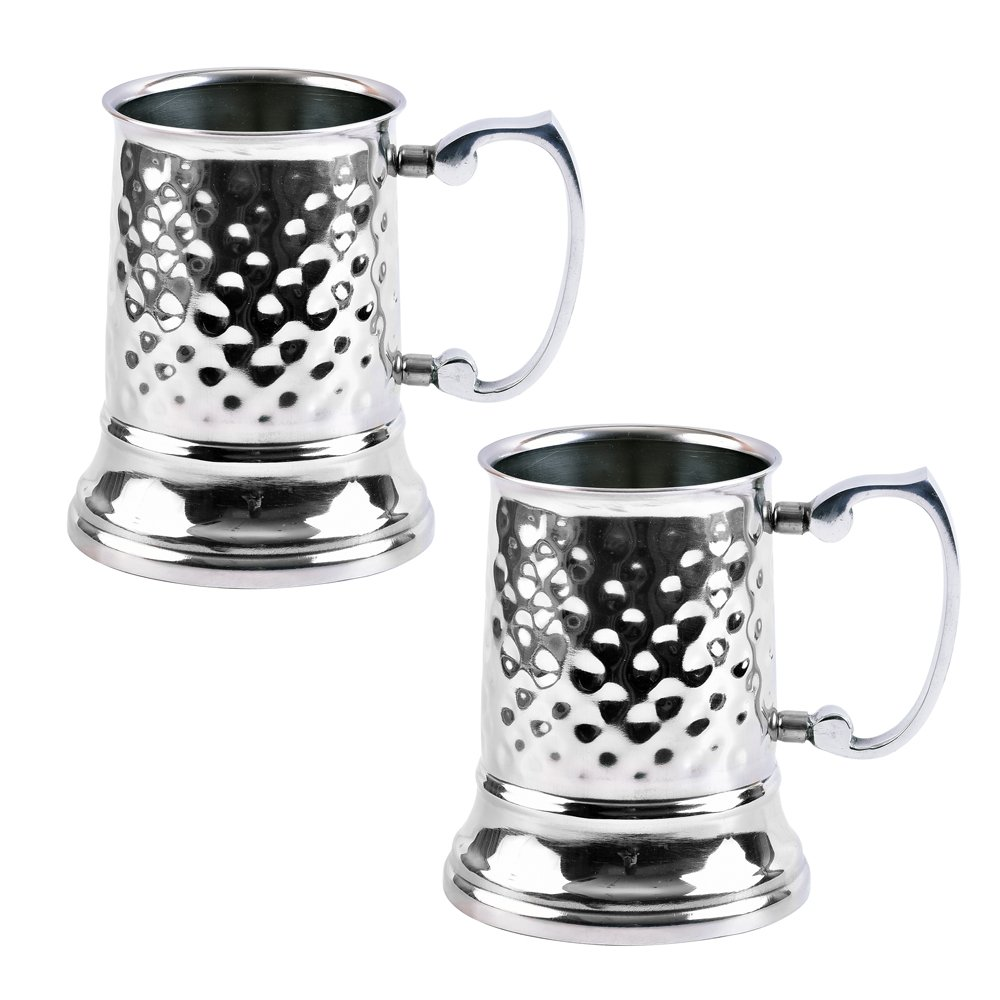 Kosma Set of 2 Stainless Steel Double Wall Beer Mug | Hammered finish Tankard l Pint - 16oz/470ml