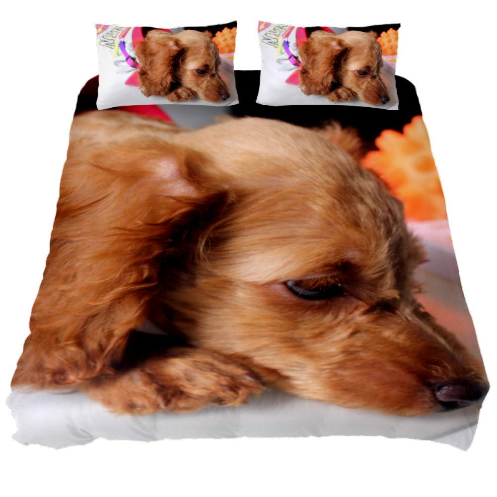 jessgirl Cute Dogs 3D Printed Elegant Modern California King Size Bedroom 3 Piece Bedding Sets