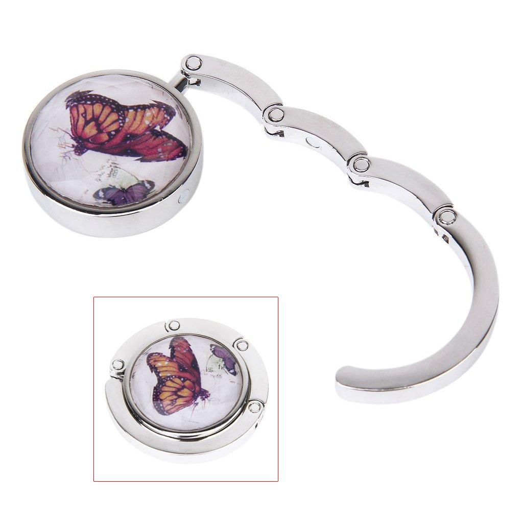 SODIAL(R) Dames Motif papillon Pliant Bourse sac a main accrochage Crochet pour table