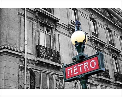 10x8 Print of Red French Metro subway sign in the street in Paris, France, spot colour (8296655) (Sign Subway Paris)
