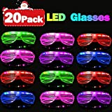 20 Pack Party Favors LED Light Up Glasses Glow in The Dark Party Supplies Toys Flashing Glasses Neon Shutter DJ SunGlasses Parties Decorations Holiday Birthday Gifts for Adult Kids