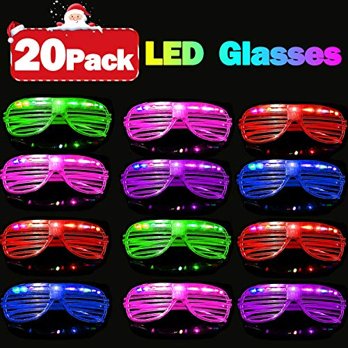 2019 New Year Eve LED Light Up Glasses 20 Pack Glow in The Dark Party Supplies Toys Flashing Glasses Neon Shutter DJ SunGlasses Christmas Parties Decorations Holiday Birthday Gifts for Adult Kids