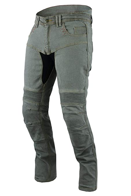Gris, UK W34 L34 // EU 50 Long Jet Pantalon Moto Homme Jeans Kevlar Aramid avec Armure Tech Pro