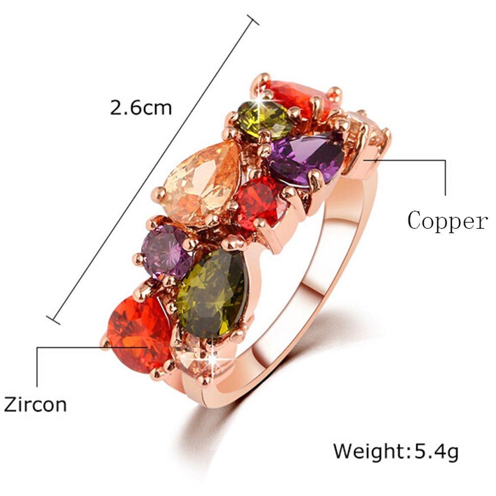 Yazilind 18K El/égant Cristal color/é de Nice Anneau de Nice Lady Want Plaqu/é Or Tendance r/écente