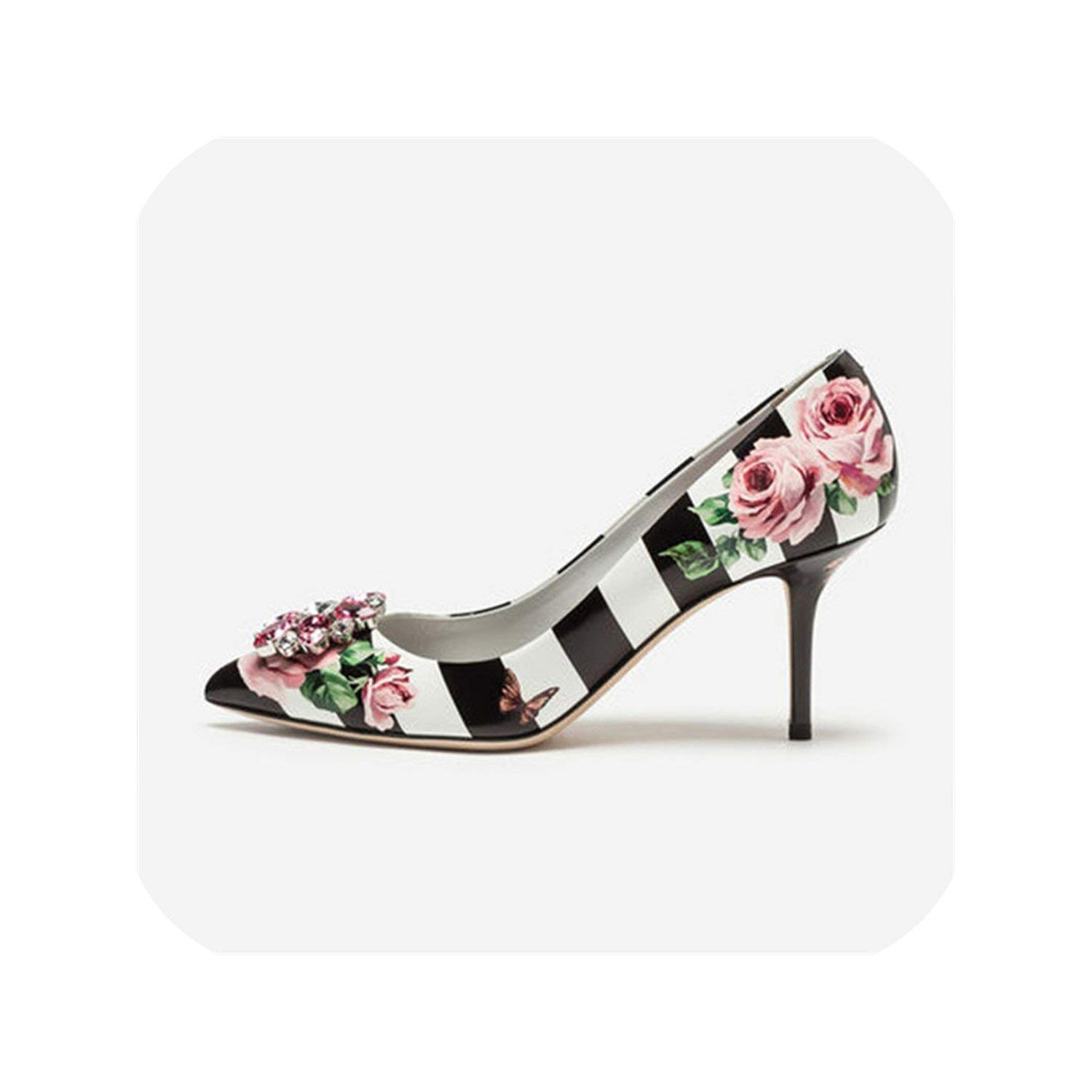 Black 7cm The Hot Rock-sandals Printed color High Heel shoes Woman Point Toe Shallow Thin Heel Bling Crystal Wedding shoes Women
