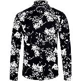ELETOP Men's Long Sleeve Slim Fit Cotton Shirt Causal Button Down Floral Shirt