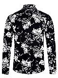 ELETOP Mens Long Sleeve Slim Fit Cotton Shirt Causal Button Down Floral Shirt
