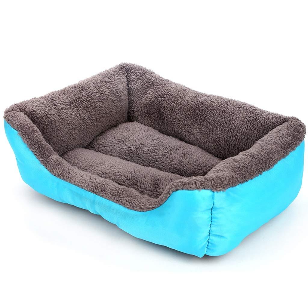 bluee MediumKennel Large Medium Dog Warm Thick Cat Litter Pet Autumn and Winter Dog Mat Dog Bed (color   orange, Size   M)
