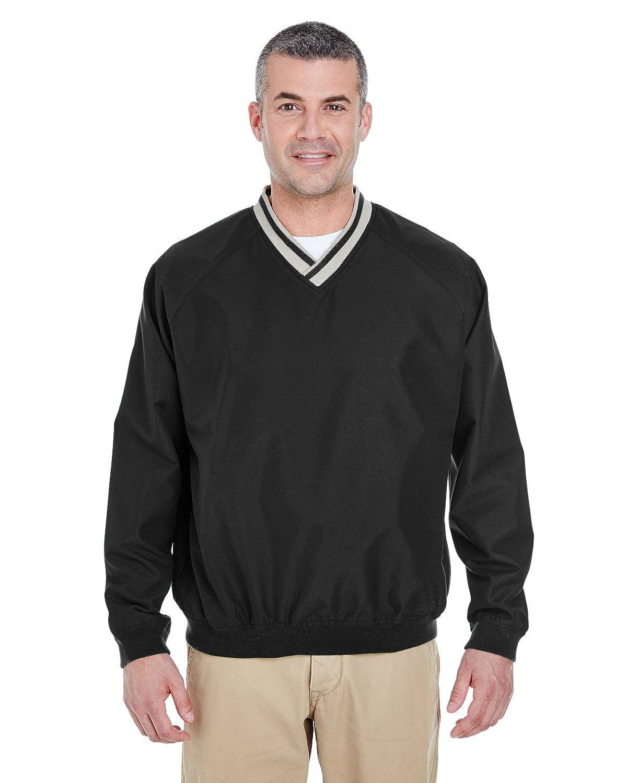 UltraClub Men's Long-Sleeve Microfiber V-Neck Windshirt 8926