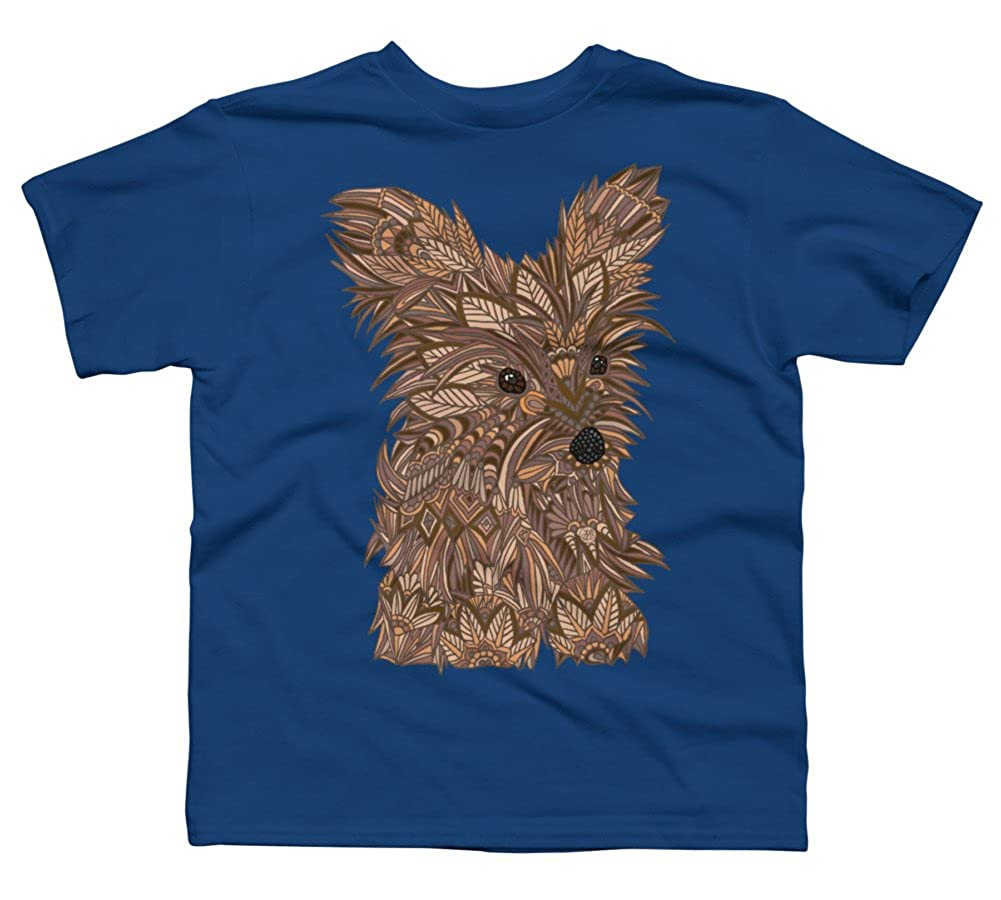 Design By Humans Yorkie Puppy Boys Youth Graphic T Shirt