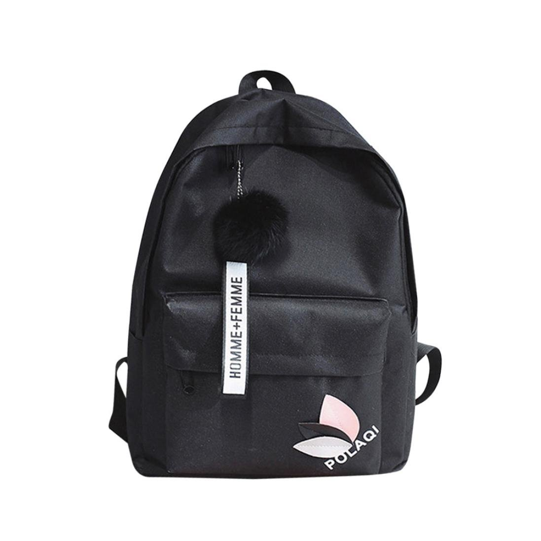 Koolee Women s Canvas Backpack with Plush Ball Fashion Girls Boy Shoulder  Bag (Black)  Sports   Outdoors 56956f4135