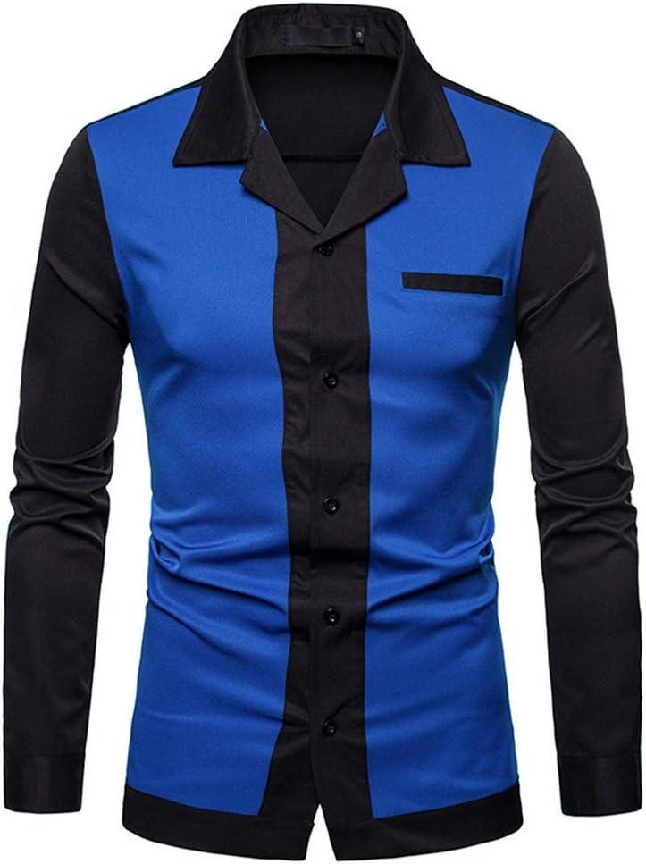 Weentop Color de Contraste de los Hombres Slim Fit Cuello de la Solapa Camisa de Manga Larga con Botones Camisa de Caballero para la Fiesta del Club Banquete Clubwear (Color : Azul,