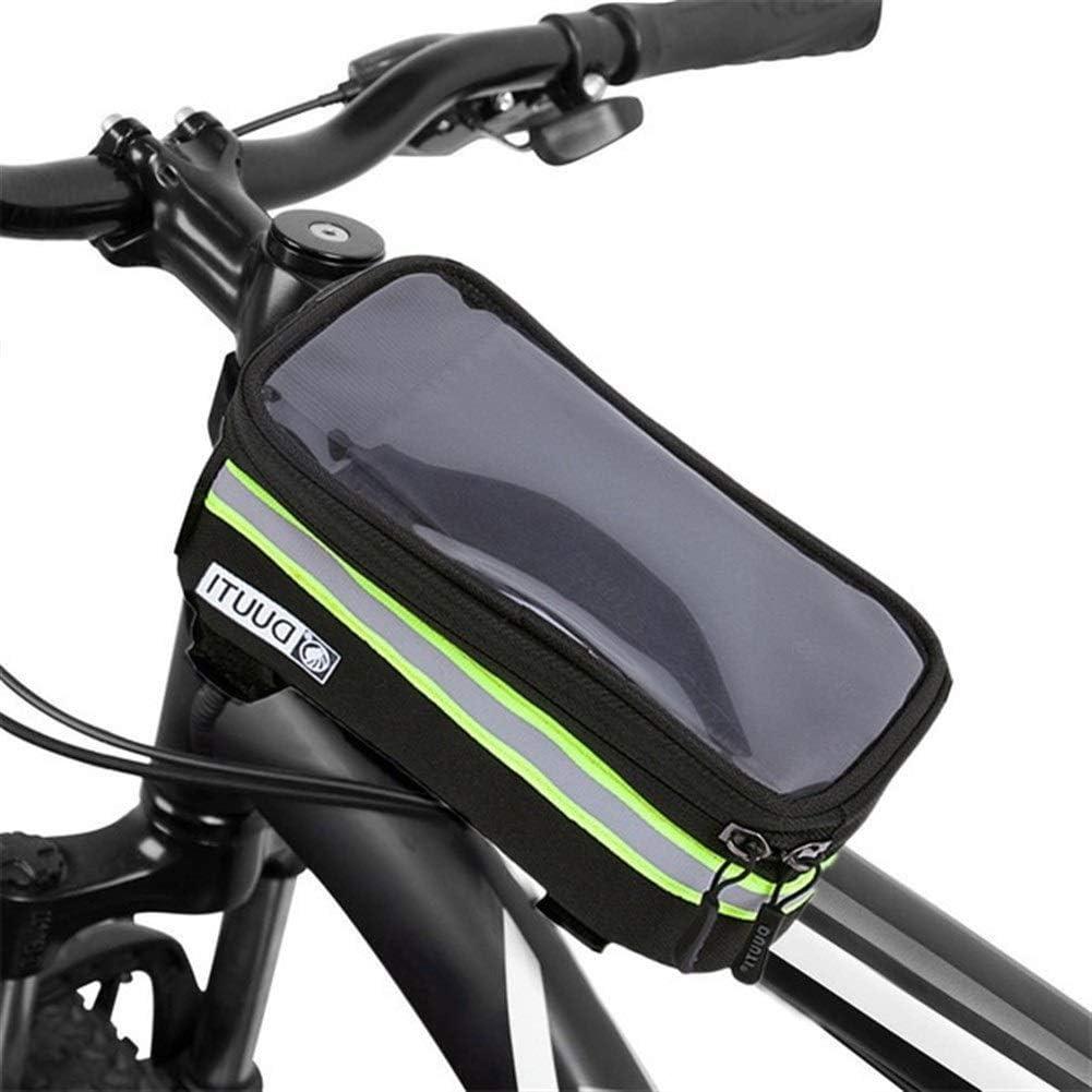 JYSL Ciclismo Bicicleta Bicicleta Tubo De Cabeza Manillar Celular Teléfono Móvil Bolsa Estuche Soporte Alforjas For Bicicleta Marco Alforja (Color : Green, Size : L): Amazon.es: Hogar