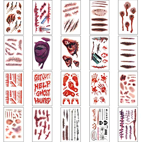 Halloween Costumes Zombie Tattoos for Halloween Party Prop Decorations, Body Scar Stickers for Cos Play (20 -