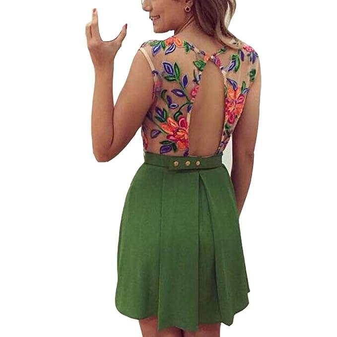 Vestidos IHRKleid® Vestido de flores sin espalda Vestido de fiesta Casual (EU34(Asia