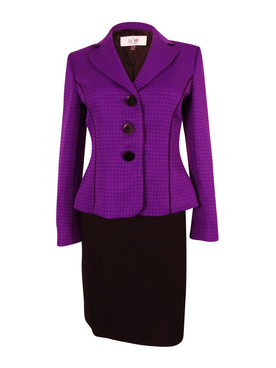 Le Suit Women's Monte Carlo Skirt Suit (8P, Amethyst/Black) by Le Suit