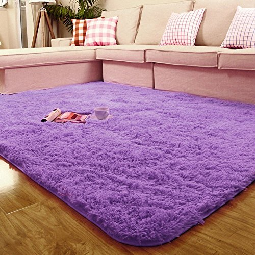 ACTCUT Ultra Soft 4.5 Cm Thick Indoor Morden Shaggy Area Rugs Pads, New Arrival Fashion Color [Bedroom] [Livingroom] [Sitting-room] [Rugs] [Blanket] [Footcloth] for Home Decorate. (Purple)