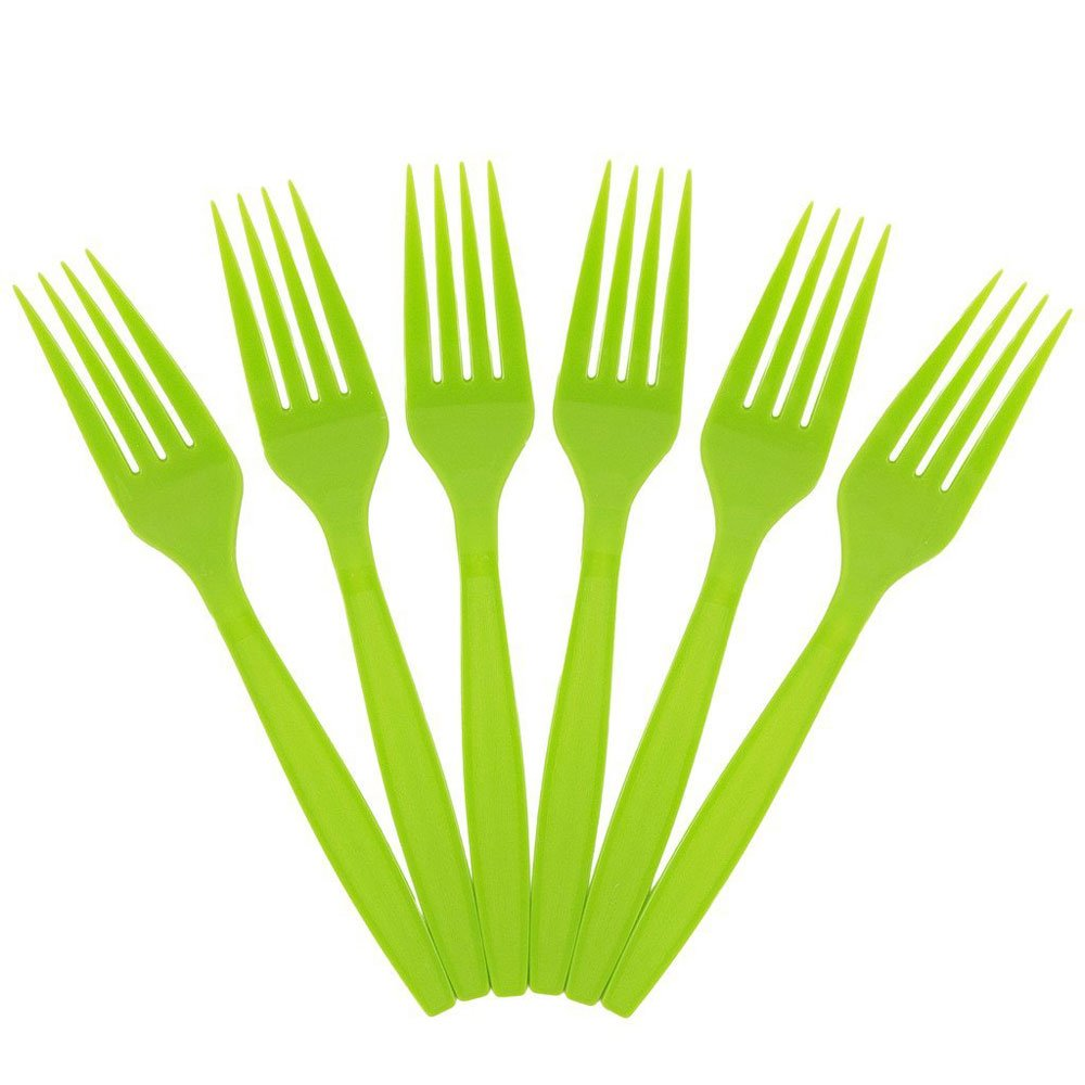JAM Paper Big Party Pack of Premium Utensils - Plastic Forks - Lime Green - 100 Disposable Forks/Box by JAM Paper (Image #1)