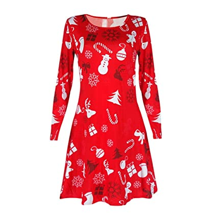 2d7004ef7580 Amazon.com  Longay Women s Christmas Print Long Sleeve Shirt Dress Tunic  Blouse Tops Mini Club Shirt Dress (Red)  Arts