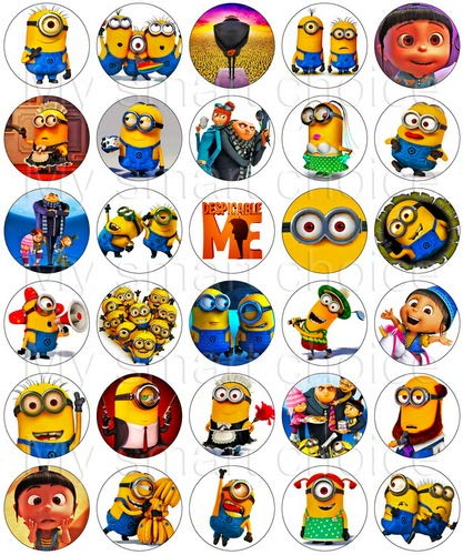30 x Edible Cupcake Toppers - Minions Despicable Me Party Collection of Edible Cake Decorations for Girls| Uncut Edible Prints on Wafer Sheet  -