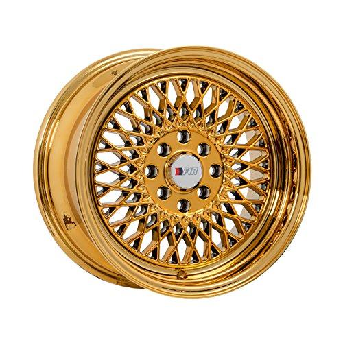 15x8 F1R F01 Gold Chrome Rim Offset(25) Lug(4x100/4x114.3) Bore(67.1) 1 Wheel -- F01158GC25 (4 Lug Chrome Rims)