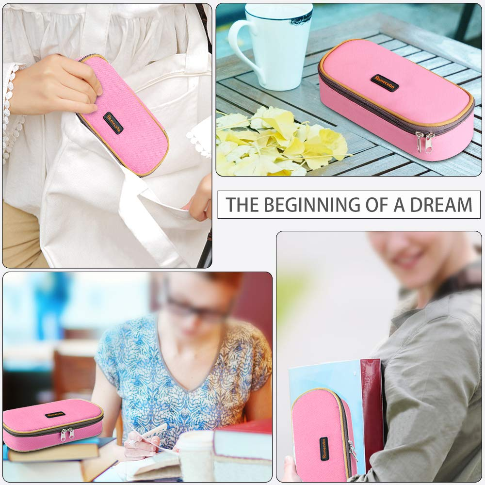 Pink Homecube Pencil Case Big Capacity Storage Oxford Cloth Pen Bag Makeup Pouch Durable Students Stationery with Double Zipper Pen Holder for School /& Office