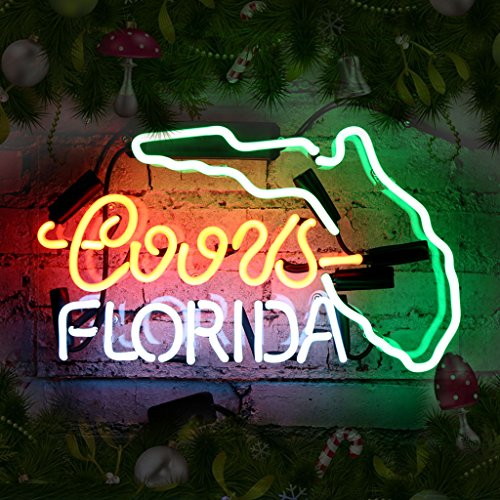 Neon Beer (Beer Neon Sign Cool Design Florida Led Neon Bar Light for Party Real Glass Light Signs for Home Shop Store Beer Bar Pub Restaurant Billiards Shops Display Signboards (Multi-colored))
