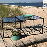 The Iconic Glass Top Square Nesting Tables, Set of 2, Black Iron Base, Approximately 20 and 22 Inches, Rust Resistant, Indoor or Outdoor, By Whole House Worlds