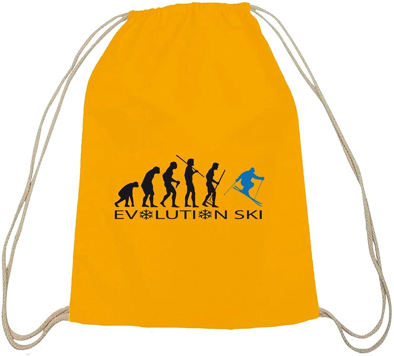 ShirtStreet, EVOLUTION SKI 2.0,Wintersport Après Ski Baumwoll natur Turnbeutel Rucksack Sport Beutel