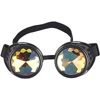 FLORATA Kaleidoscope Rainbow Steampunk Goggles Crystal Lenses Welding Eye Protect Vintage Glasses