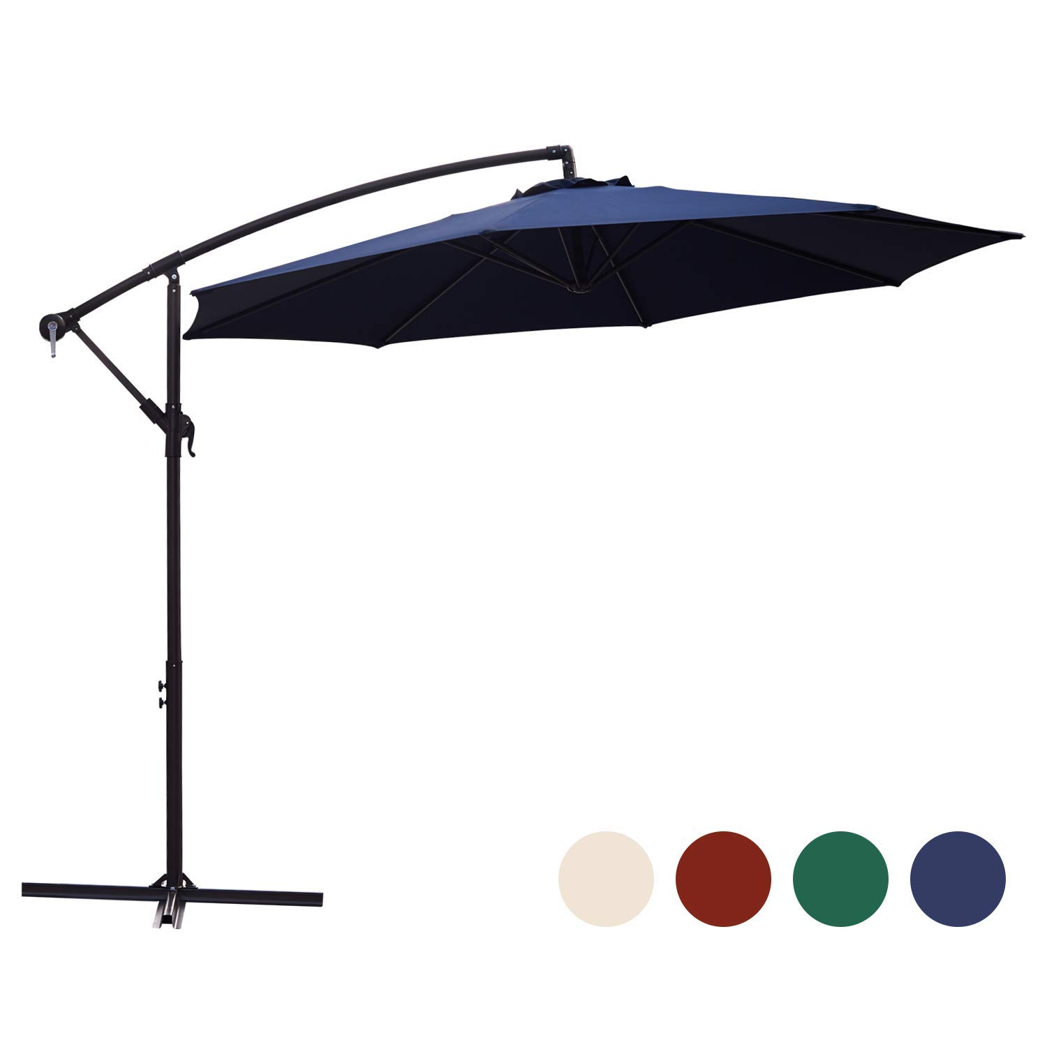 KINGYES 10ft Patio Offset Cantilever Umbrella Market Umbrellas Outdoor Umbrella with Crank & Cross Base for Garden, Deck,Backyard and Pool(Navy Blue)