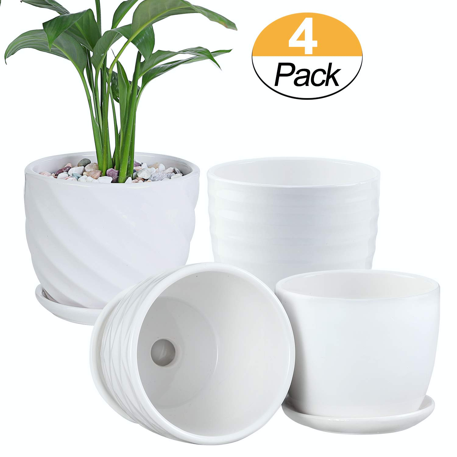Plant Pots – 4.7 Inch Cylinder Ceramic Planters with Connected Saucer, Pots for Succuelnt and Little Snake Plants, Set of 4, White