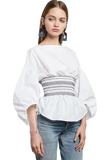 1768f108 Sexy Shirred Ruched Waist Bishop Sleeve 3/4 Sleeve Zipper Back Peplum  Blouse Shirt Top