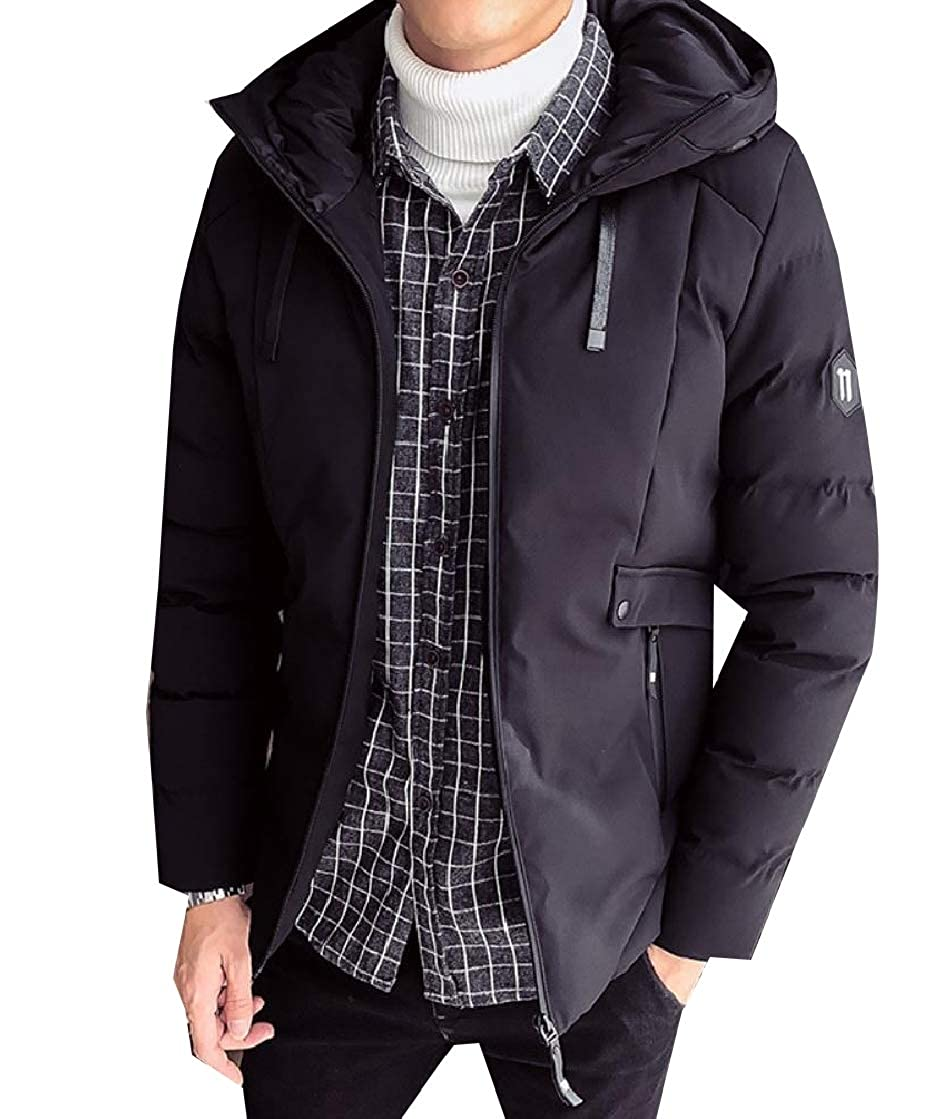 CuteRose Men Slim Padded Hooded Parka Coat Thicken Zip Puffer Quilted Jacket