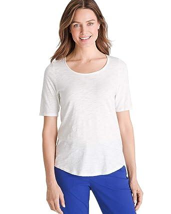8c3c973b Chico's Women's Cotton-Blend Slub Elbow-Sleeve Tee at Amazon Women's  Clothing store: