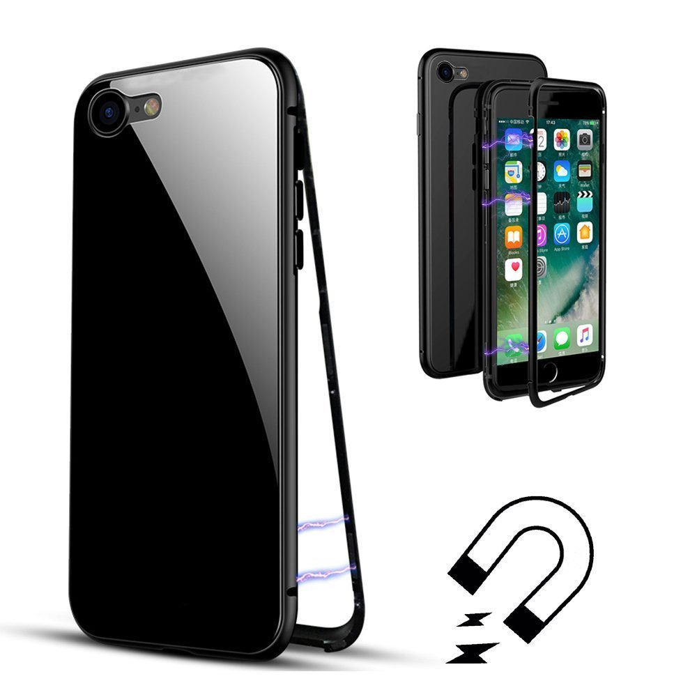 Laxus iPhone X Hülle, Full Body Slim Fit Ultradünne Hülle, [Magnetic Flip Cover] [Metallrahmen] [Clear Gehärtetes Glas] [Support Wireless Charging] für iPhone X