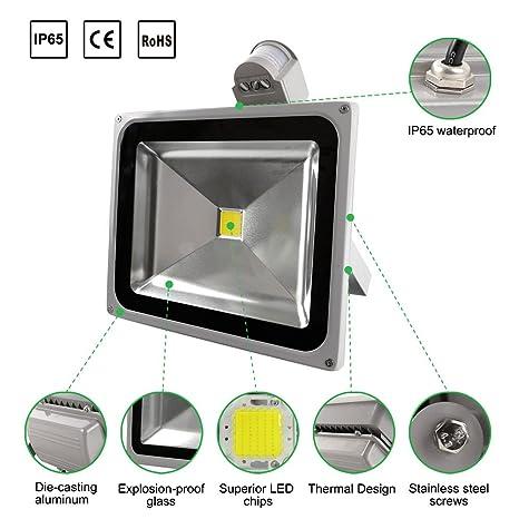 whdz LED Sensor de movimiento luz de inundación, 50 W, luz blanca, 6500