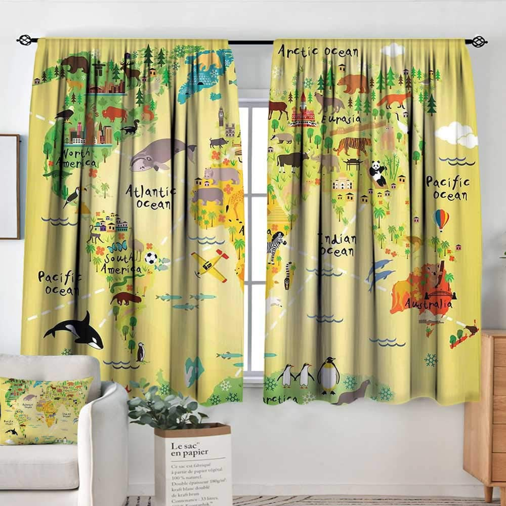 color04 42 W x 45 L Elliot Dgoldthy Rod Pocket Curtains Kids Party,colorful Cartoon Space Themed Star Filled Background with Aliens and Astronaut,Multicolor,Insulating Room Darkening Blackout Drapes for Bedroom 42 x54